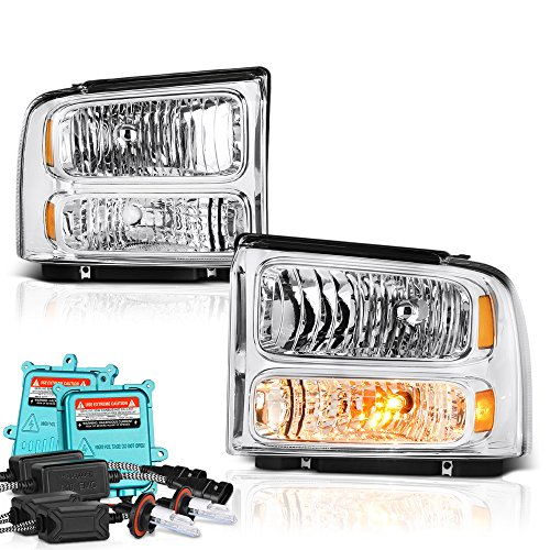 07 Ford F-250 F-350 F-450 F-550 Superduty Headlights - Built In Xenon HID Low Beam, Metallic Chrome Housing, Driver and Passenger Side (Super Duty Pickup Truck Headlight)
