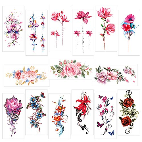 Konsait 15 Sheets Large Flower Temporary Tattoos Waterproof Sexy Fake Tattoo Body Art Sticker for Adults Women Girls Lady Arms Legs Shoulder Back (Lily, Peach, Plum, Peony)