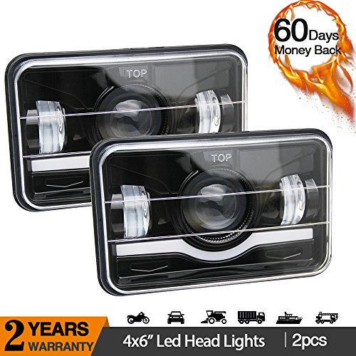 LED Rectangular Headlight Projector 4x6 2PCS CREE Sealed Beam Replacement Hi/Lo Beam DRL Fits Headlamp Bulb for Jeep Wrangler, T001N, Colight (Replacement Sealed Headlight Beam)