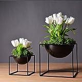 1pc Modern Tabletop Vase Metal Square Flower Plant Pot Tray Cube Pergola Garden Planting Flower Home Decoration (Black Color Large Size)