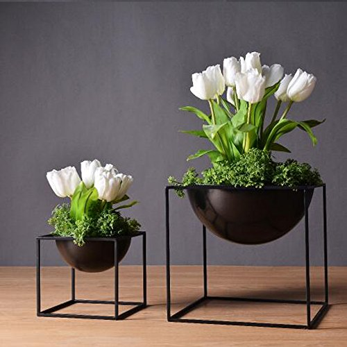 1pc Modern Tabletop Vase Metal Square Flower Plant Pot Tray Cube Pergola Garden Planting Flower Home Decoration (Black Color Small Size)
