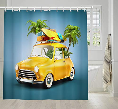 (KOTOM Wanderlust Summer Travel Bathroom Shower Curtains, Funny Retro Car with Surfboard PalmsTree, Polyester Bath Curtain, Fabric Shower Curtain Sets with Hooks, 69