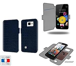 Caso de LG K4 Bleu cocodrilo Collection cocodrilode almacenamiento innovadoras con tarjeta de la puerta interna - Estuche protector de LG K4 con fijación adhesiva reposicionable 3M