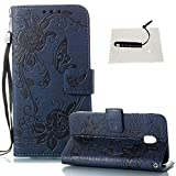 Galaxy J3 2017 Case,Samsung J3 2017 Gray Back Cover,TOCASO Flip Wallet Protective Case Leather [Mixed-Color Denim Jean Serie] with Function ID Card Slots Cash Pocket Magnetic Shockproof