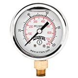 Winters PFQ Series Stainless Steel 304 Dual Scale Liquid Filled Pressure Gauge with Brass Internals, 0-100 psi/kpa, 2'' Dial Display, +/-2.5% Accuracy, 1/8'' NPT Bottom Mount
