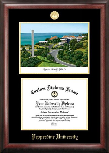 (Campus Images CA944LGED Pepperdine University Embossed Diploma Frame with Lithograph Print, 8.5