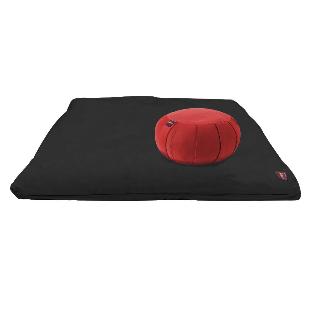 Yoga Meditation Deluxe Studio Grade Kit (set) by Yogavni (TM) (Black Zabuton and Maroon Round Zafu with Cotton Filled) by YogavniTM (Image #1)