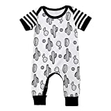 HESHENG Newborn Infant Baby Boy Cactus Short Sleeve Romper Jumpsuit Kids Outfits Summer Clothes (Black White, 100/12-18M)
