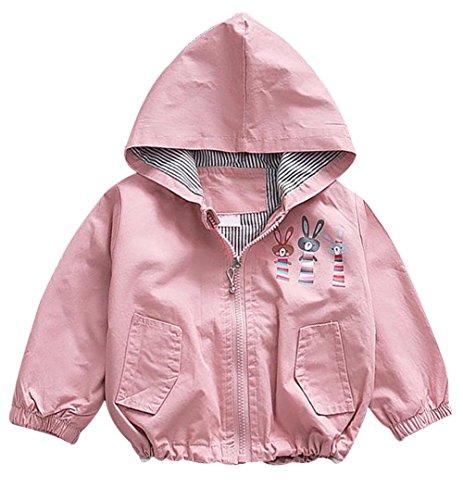 Baby Cute Rabbit - EGELEXY Baby Girls Cute Cartoon Rabbit Hooded Zipper Windbreaker Coats Kids Outerwear 3-4T/Tag 10 (Pink)