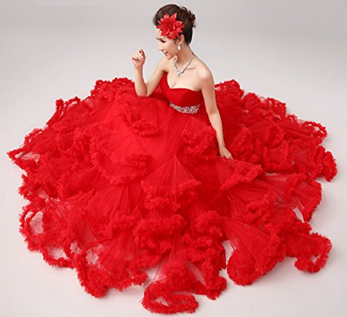 Beauté Emily Perlant Tulle Couches Lacer Robes De Mariée En Train De Ceinture Rouge