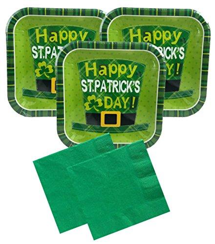 St Patricks Day Party Supplies Disposable Dessert Bundle - Lucky Leprechaun - Square Dessert Snack Plates and Napkins (Serves 30)