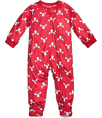 Family PJs Moose Holiday Infant Footed Pajamas Red 24 - Moose Holiday