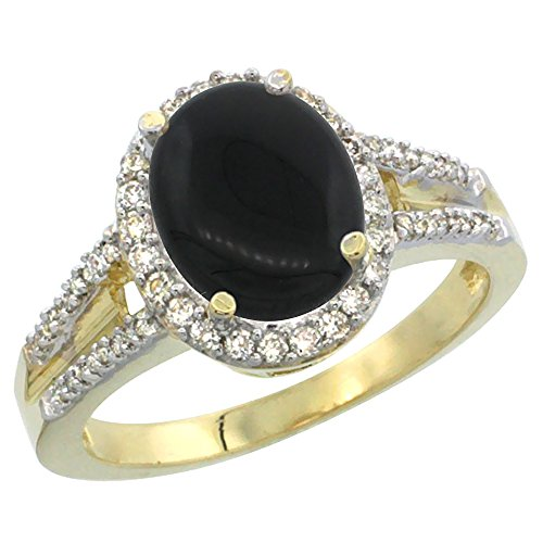 14K Yellow Gold Diamond Natural Black Onyx Engagement Ring Oval 10x8mm, size 6 14k Yellow Gold Onyx Ring