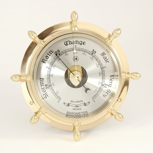 Wheel Barometer - Brass Ship Wheel Barometer