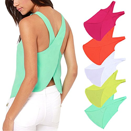 Mosunx(TM) Women Blouses Candy Color Lady Shirts Sexy Strap Chiffon Blouse Tops (M, FluorescentGreen)