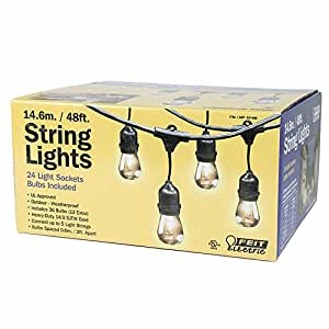 String Lights Outdoor Feit Electric : Amazon.com : Feit Electric 48ft String Lights Incandescent Indoor/Outdoor 24 Lights : Patio ...