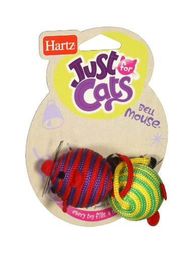 Hartz 12514 Bell Mouse Cat Toy Assorted Colors 2 Count