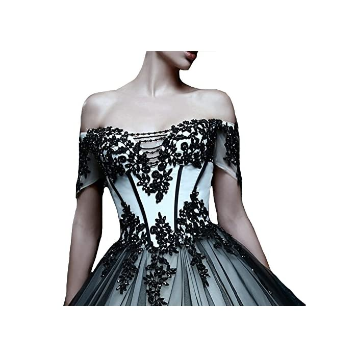 3c27bd71f3b ... Off Shoulder White and Black Tulle Gothic Lace Vintage Prom Dresses  Wedding Gowns US 14.   