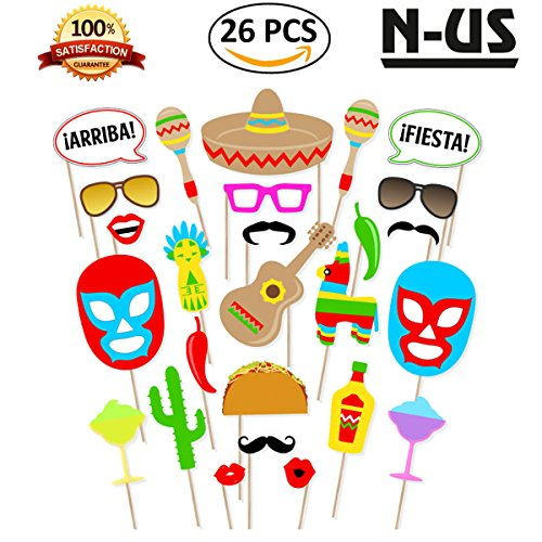 FIESTA PHOTO BOOTH PROPS| Mexican Theme Party Supplies,Cinco De Mayo Decorations,Party Favors,Selfie Props for Mexican Birthday Wedding Bachelorette Fiesta-Make Mexico Great Again-Sticks in Kit 26 (Cheerleading Party Beads)