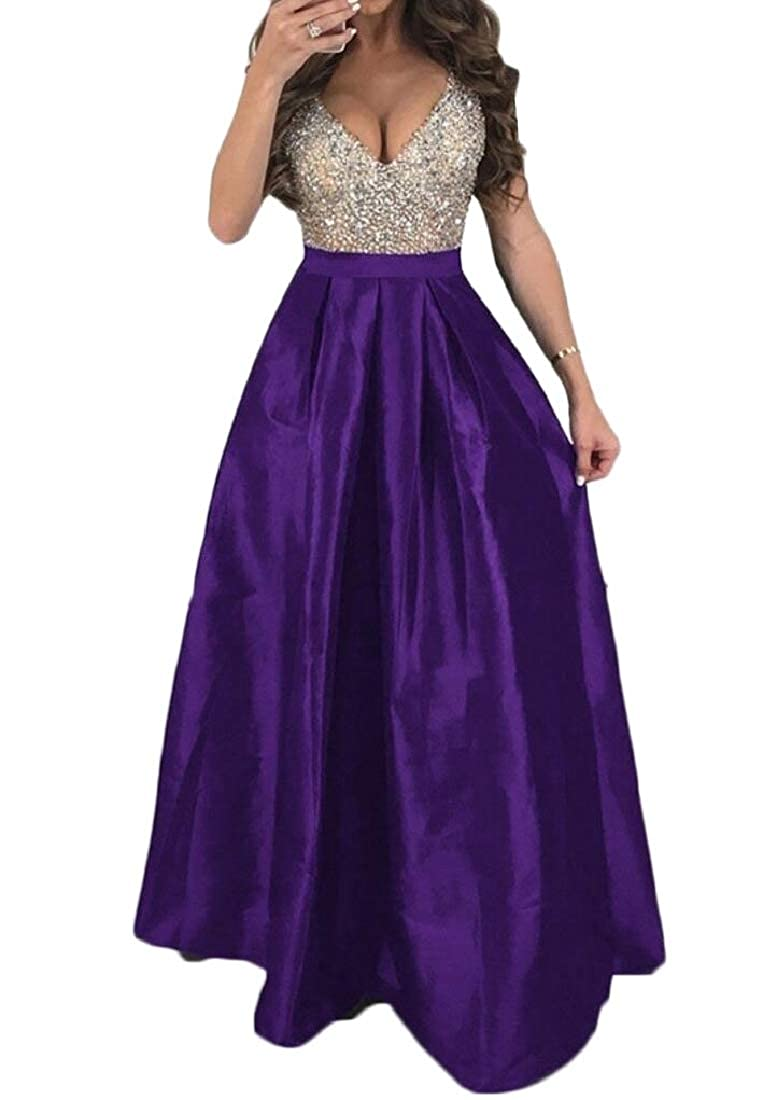 79b938ac7a71 Abetteric Women s Sexy Off Shoulder Deep V Maxi Swing Sequin Flare Dress at  Amazon Women s Clothing store