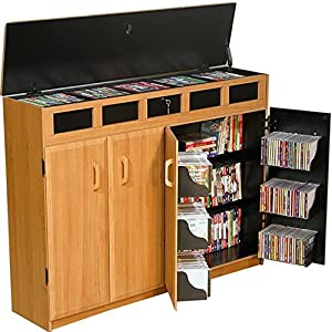 Amazon.com: Venture Horizon Top Load Media Cabinet- Oak: Kitchen ...