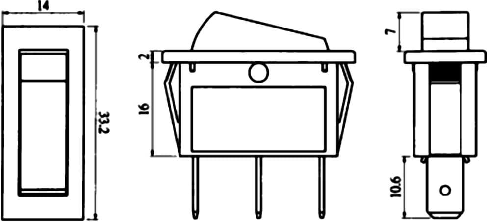 ON Aerzetix -OFF- Unterbrecher 10A//250V Schwarz 1 Positionen ON Schalter Knopfschalter Switch Kippschalter Druckschalter SP3T