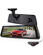 """X1PRO Rear View Mirror Dash Cam 9.88"""" Full Touch Screen Dual Lens with 1296P Front and 720P Super Night Vision Stream Media Backup Camera kit, WDR,LDWS, GPS Tracking,Auto-Brightness Adjusting"""