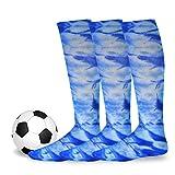 TeeHee Cotton Unisex Soccer Sports Team Flat Knit Socks 3-Pair Pack
