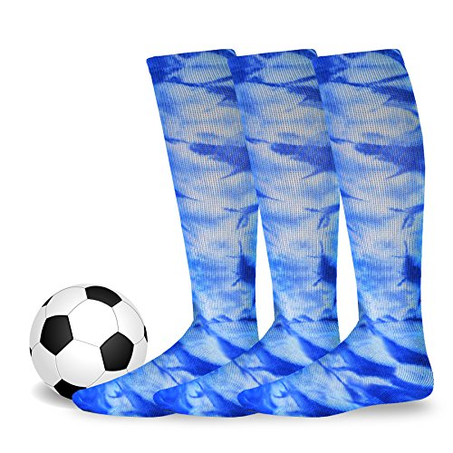 Soxnet Cotton Unisex Soccer Sports Team Socks 3 Pack (Youth / 5-7, Tie Dye (Tie Dye Youth Socks)