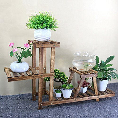 Flower Pot Shelf Wood Flower Stand Home Indoor Balcony Basin Potted Frame Plant Frame Folding Frame 802557cm ( Color : Carbon baking color ) by LITINGMEI Flower rack