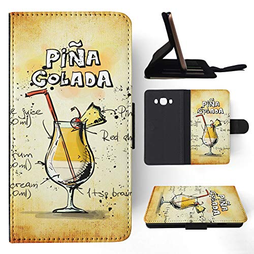 (Alcohol Pina Colada Spirits Beer Flip Wallet Phone Case Cover for Samsung Galaxy J7 (2016))
