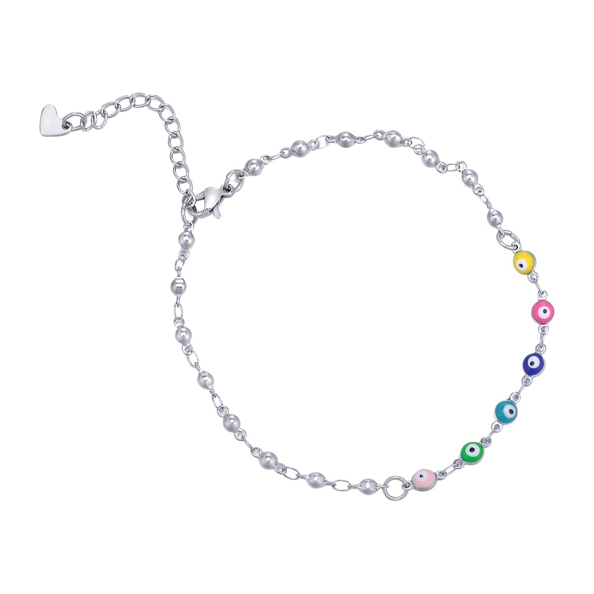 HooAMI Stainless Steel Silver Anklet Mini Evil Eye Chain Ankle Bracelet for Women & Girls