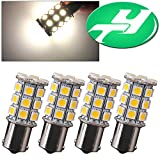 YINTATECH 4x Warm White 1156 BA15S 27-SMD 1003 1141 Interior RV Camper Lights Turn SIgnal Tail Brake Backup Reverse LED Bulbs