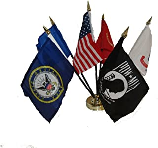 Ant Enterprises USA Military Pow Mia 6 Flags 4'x6' Desk Set Table Stick Gold Base