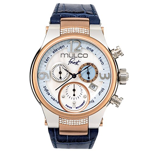 - Mulco Frost Ladies Quartz Swiss Chronograph Movement Women's Watch   Mother of Pearl Sundial with Rose Gold and Swarovski Accents   Blue Watch Band   Water Resistant