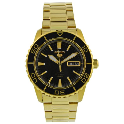 Seiko-Mens-SNZH60-Seiko-5-Automatic-Black-Dial-Gold-Tone-Stainless-Steel-Watch