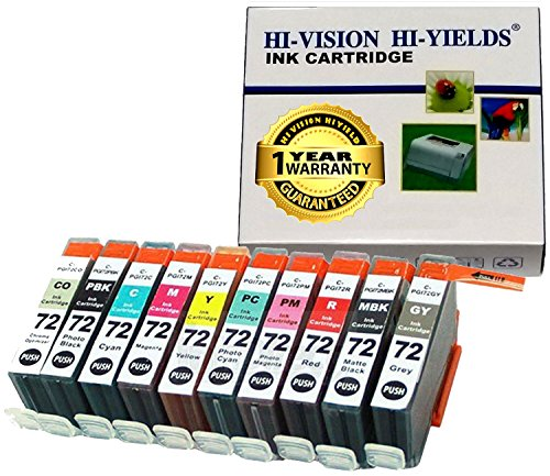 HI-VISION Compatible Canon PGI-72 PGI72 10 Pcs Set ink Replacement for Pixma Pro-10 (Matte Black, Photo Black, Cyan, Photo Cyan, Magenta, Photo Magenta, Yellow, Gray, Red, Chroma Optimizer)