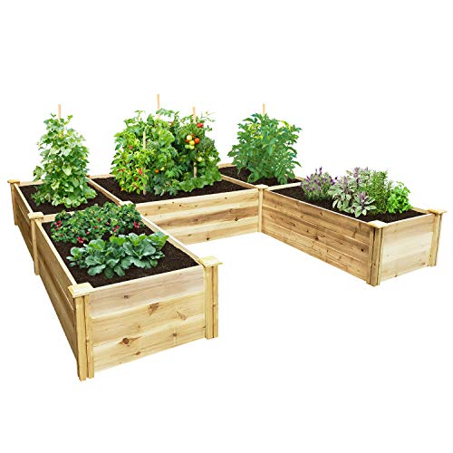 Greenes Fence Premium Cedar Raised Garden Bed 8 ft. x 8 ft. x 16.5 in. U-Shaped Bed
