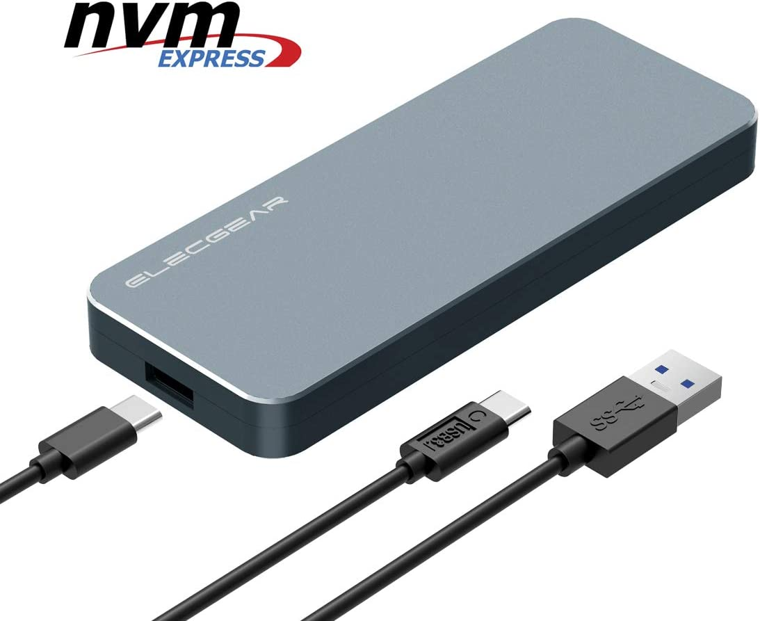 NVMe PCIe M.2 SSD to USB 3.1 Gen2 Enclosure - ElecGear NV-i9 10Gbps External Aluminum Cooling Case, 2280 PCI-E M2 M-Key NGFF HDD Card Reader Adapter, NVMe Caddy Hard Drive Box, USB Type A and C Cable