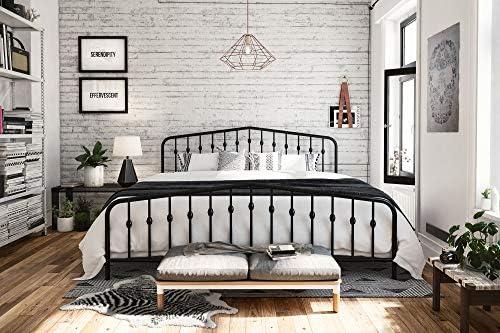Novogratz Bushwick Metal Bed with Headboard and Footboard | Modern Design | King Size – Black 51M5u2n APL
