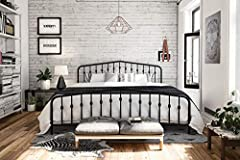 Get inspired to introduce fresh ideas into a sleepy space. The Novogratz bushwick metal bed has a simple design that will perfectly complement your room. With round finials featured on the headboard and footboard posts, its style and color ca...