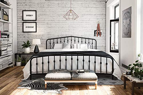 Novogratz Bushwick Metal Bed, King, Black