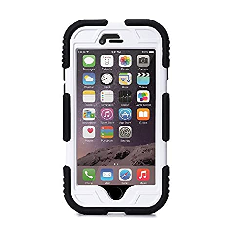 IPhone 6 Case & Iphone 6 Plus Case,ACEGUARDER Rugged Ultra Shock proof drop proof Amy grade Protective Hard Defender Fingerprint Scanner Case with Built-in Screen Protector for Apple iPhone 6 Plus 5.5 inch & Apple iPhone 6 4.7 inch (Iphone 6, Black/White)