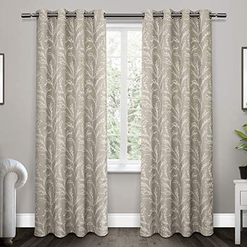Exclusive Home Curtains Kilberry Woven Blackout Grommet Top Curtain Panel Pair, 52×84, Dove Grey, 2 Piece