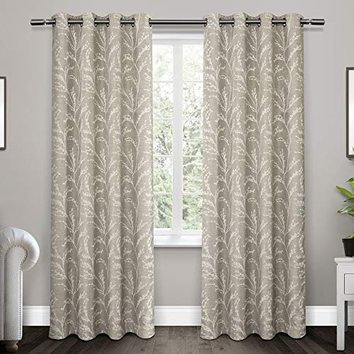 Exclusive Home Curtains Kilberry Woven Blackout Window Curtain Panel Pair with Grommet Top, 52x84, Dove Grey, 2 Piece