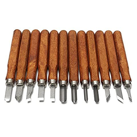 Wld-16pcs/set Woodcut Knife DIY Tools Engrave Hand Carving Wood Chisel Woodworking Graver Whetstone (Palm Graver)