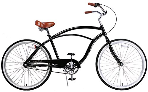 Fito Men's Marina Aluminum Alloy 3-Speed Beach Cruiser Bike, Black/Brown, 18″ x 26″/One Size Review
