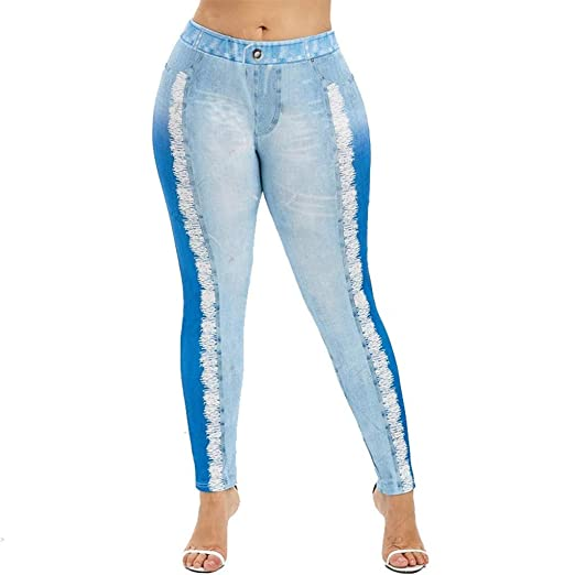 7fe13a4863 Image Unavailable. Image not available for. Color: KEMP Women Fake Denim  Jeans Leggings ...