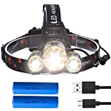 LED Headlamp Flashlight, Gracetop [Update Version] CREE T6 LED Lamp Zoom 4 Modes Waterproof USB Rechargeable Headlight for Reading Outdoor Running Camping Fishing Walking