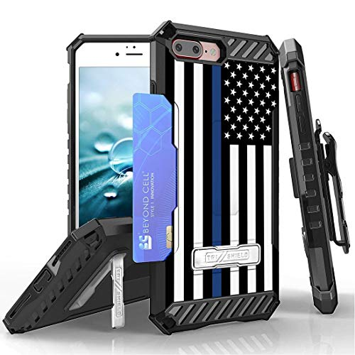Beyond Cell TriShield Series Compatible with iPhone 8 Plus, iPhone 7 Plus Slim Military Grade Shockproof Protection Phone Case with Belt Clip Holster - Thin Blue Line from Bemz Depot